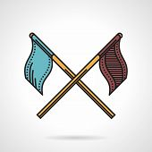 foto of paintball  - Flat color vector icon with black contour for crossed blue and brown flags for paintball teams on white background - JPG