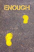 Yellow Footsteps On Sidewalk Towards Goals Message