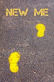 Yellow Footsteps On Sidewalk Towards New Me Message