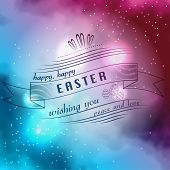 Happy Easter Typographical on bright sky Background