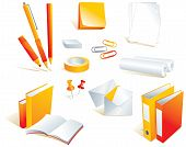 Stationery, office supply items, isolated objects