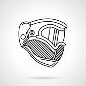 Paintball helmet flat line vector icon