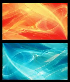 foto of cosmic  - Two  Abstract Fractal horizontal backgrounds cosmic light in  ice blue and in orange for screen mobile telephone tablet monitor - JPG