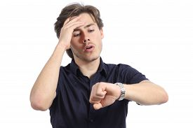 pic of running-late  - Worried man running out of time on a white background - JPG
