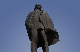 stock photo of lenin  - a Lenin statue in Novosibirsk from communistic era - JPG