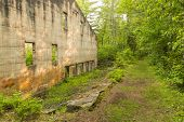foto of house woods  - Ruins of a quarry power house in the woods with a trail to the side of it - JPG