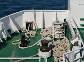 image of bollard  - Ropes and bollards on a ferry in Croatia - JPG