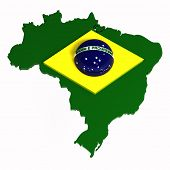 Brasil, Map with Flag, 3D Illustration, Isolated On White
