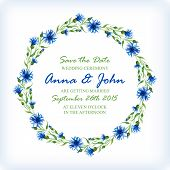 pic of life event  - Wedding invitation design template with watercolor floral circular frame - JPG