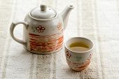 pic of teapot  - fresh healthy hot tea in a teapot and cup - JPG