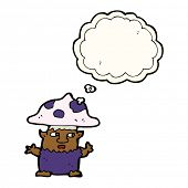 foto of fairy-mushroom  - cartoon little mushroom man with thought bubble - JPG