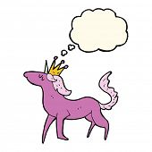 picture of unicorn  - cartoon unicorn with thought bubble - JPG