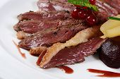 picture of duck breast  - Duck breast in wine sauce close up - JPG
