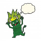 pic of demon  - cartoon demon with thought bubble - JPG