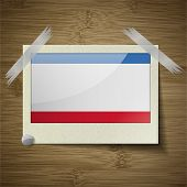 stock photo of crimea  - Flags of Crimea at frame on wooden texture - JPG
