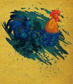 pic of roosters  - Colorful rooster illustration with grunge ink splatters on paper background - JPG