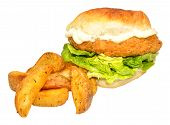 pic of southern fried chicken  - Southern fried chicken sandwich with potato wedges isolated on a white background - JPG