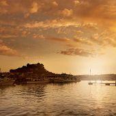 picture of marina  - Denia port sunset dusk in marina at Alicante Mediterranean Spain - JPG