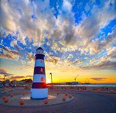 image of lighthouse  - Denia sunset lighthouse at dusk in Alicante at spain - JPG