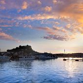 foto of marina  - Denia port sunset dusk in marina at Alicante Mediterranean Spain - JPG