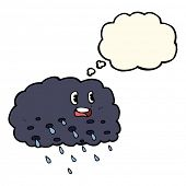 picture of rain cloud  - cartoon rain cloud with thought bubble - JPG