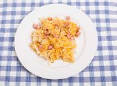 stock photo of hash  - Some Hash browns with ham and cheese - JPG