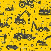 picture of heavy equipment  - Seamless pattern with silhouette of heavy equipment and machinery - JPG