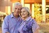 stock photo of amusement  - Portrait of amusing  senior couple on vacation - JPG