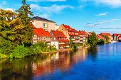 foto of bavaria  - Scenic summer panorama of the Old Town pier architecture in Bamberg - JPG