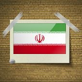 pic of tehran  - Flags of Iran at frame on a brick background - JPG