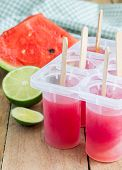 picture of popsicle  - Homemade popsicles with watermelon and lime - JPG
