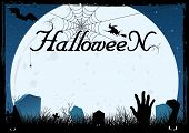 Blue Halloween Card Or Cemetery Background