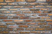 pic of brick block  - Background pattern of weathered old brick wall texture toned grungy rusty brushed blocks as urban architecture backdrop - JPG