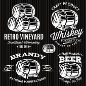 picture of monochromatic  - set of vector patterns for monochromatic emblems with barrels - JPG