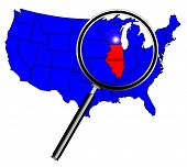 stock photo of illinois  - Illinois state outline set into a map of The United States of America under a magnifying glass - JPG