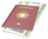 stock photo of boarding pass  - Dark red Passport and green Boarding Pass - JPG