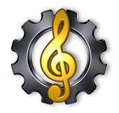 picture of clefs  - gear wheel and metal clef on white background  - JPG
