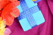 pic of mulberry  - Sweet color flowers from mulberry paper whith holiday gift box - JPG