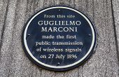 pic of plaque  - A plaque in Newgate Street London marking the location where Guglielmo Marconi made the first public transmission of wireless signals in 1896 - JPG
