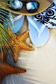 pic of deserted island  - beach accessories on a deserted tropical beach - JPG