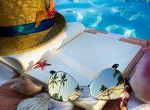 stock photo of beach shell art  - art Straw hat book and Sunglasses on the beach - JPG
