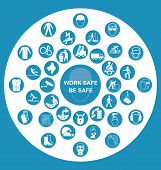 image of ppe  - Blue construction manufacturing and engineering health and safety related circular icon collection with work safe message - JPG