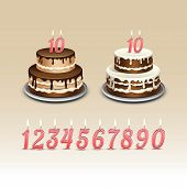 stock photo of candle flame  - Birthday Cake with Candles Numerals Flame Fire Light - JPG
