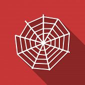 picture of spider web  - spider web flat design modern icon with long shadow for web and mobile app  - JPG