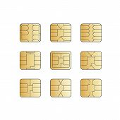 image of micro-sim  - Vector Mobile Cellular Phone Sim Card Chip Set Isolated on White Background - JPG