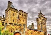 stock photo of yellow castle  - View of Cardiff Castle  - JPG