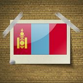 stock photo of mongol  - Flags of Mongolia at frame on a brick background - JPG