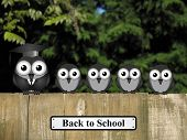 pic of bird fence  - Comical teacher and student birds perched on a timber garden fence with back to school sign against a foliage background - JPG