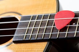 pic of string instrument  - Small Hawaiian four stringed ukulele guitar with red pick between strings closeup - JPG