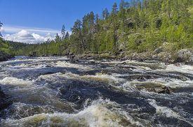 foto of murmansk  - Rapids on Kutsayoki river on a bright sinny day - JPG